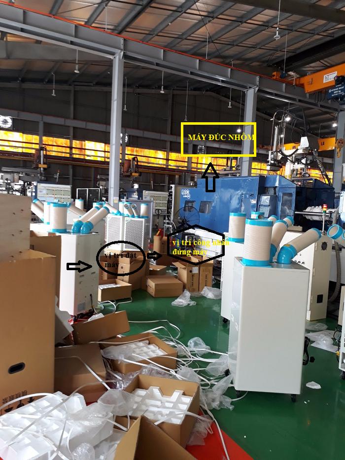 Lắp máy lạnh di động nakatomi SAC-4500 cho máy đúc