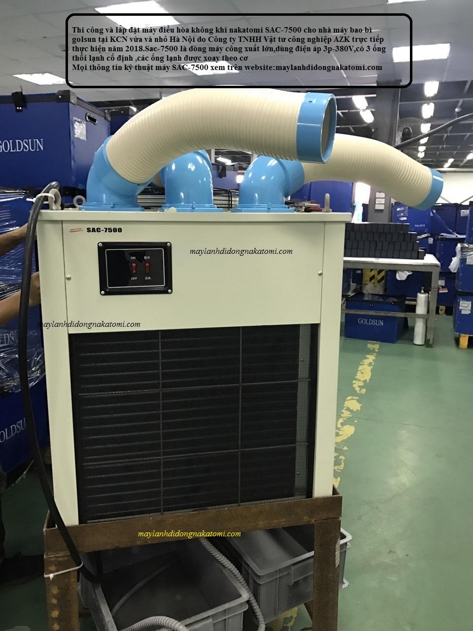 Thi công lắp máy lạnh di động nakatomi SAC-7500 cho nhà máy bao bì GOLDSUN-2