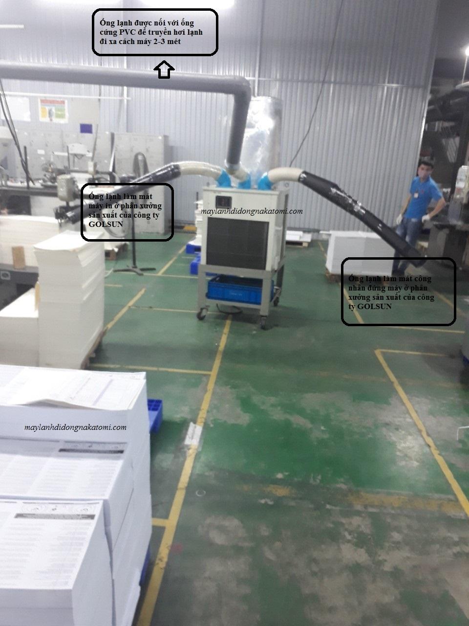 Thi công lắp máy lạnh di động nakatomi SAC-7500 cho nhà máy bao bì GOLDSUN-4