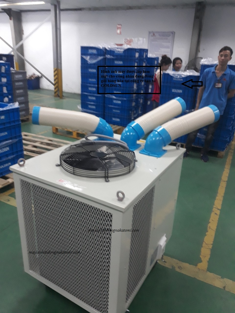 Thi công lắp máy lạnh di động nakatomi SAC-7500 cho nhà máy bao bì GOLDSUN-3